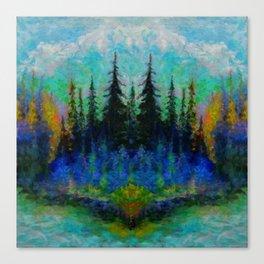 NORTHERN  BLUE & AQUA SPRUCE  PINES ISLAND ART Canvas Print