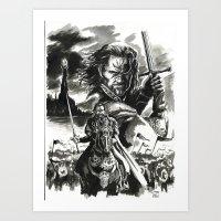 aragorn Art Prints featuring Aragorn by Juan Pablo Cortes