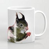 squirrel Mugs featuring squirrel by KrisLeov