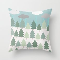 Pacific Northwest Tree and Rain Scene - Portland, PDX, Seattle, Washington, Oregon Throw Pillow
