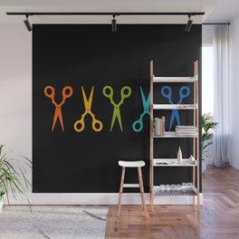 Rainbow Scissors Wall Mural