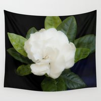 free shipping Wall Tapestries featuring Gardenia in the garden - free shipping by Ordiraptus