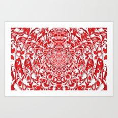 Illusionary Daisy (Red) Art Print