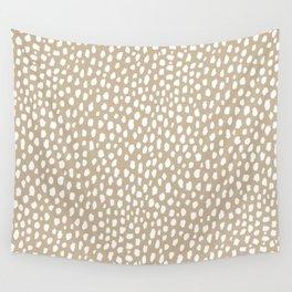 Handmade polka dot brush spots (white/tan) Wall Tapestry