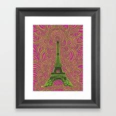 Eiffel Tower Drawing Meditation - Green/Pink/Yellow Framed Art Print