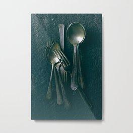 Beautiful Vintage Spoons on Black Metal Print