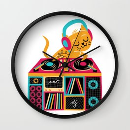 Cat DJ Wall Clock