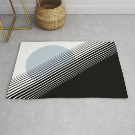 Rising Sun Minimal Japanese Abstract White Black Blue Rug