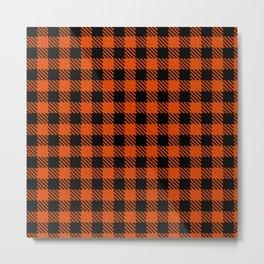 Orange Red  Bison Plaid Metal Print