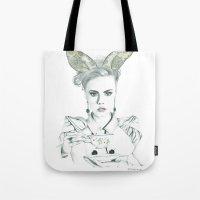 cara delevingne Tote Bags featuring Cara Delevingne by Simona Borstnar