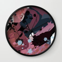 A mess of me: an abstract mixed media piece in muted pinks, blues, and black Wall Clock