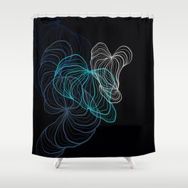 Gray, blue and white / digital drawing Shower Curtain