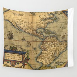 Antique Map of North and South America 1570 Wall Tapestry