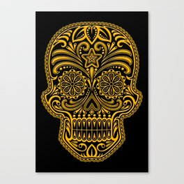 Intricate Yellow and Black Day of the Dead Sugar Skull Canvas Print