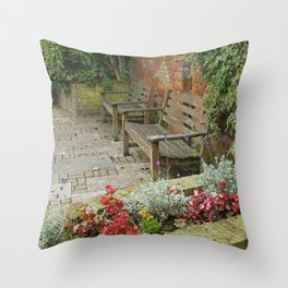Secluded English Garden Throw Pillow