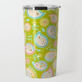 Hedgehog Paisley_Colors and Green Travel Mug