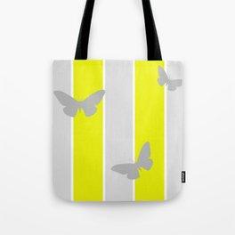 Mustard and Grey Stripes Tote Bag