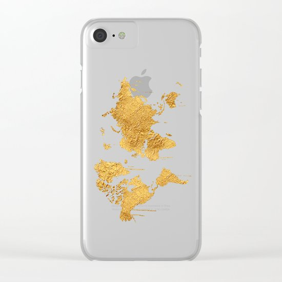 Gold World Map Clear iPhone Case