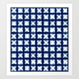 Indigo Shibori Granny Squares Art Print
