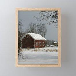 Red Barn in Snow Framed Mini Art Print