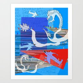 the white dragon usa Art Print