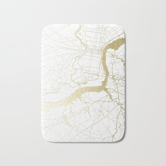 Philidelphia - White and Gold Bath Mat