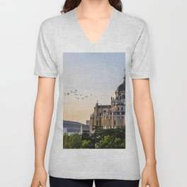 Almudena cathedral of Madrid Unisex V-Neck