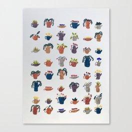 Tea Pots and Cute Plants Canvas Print