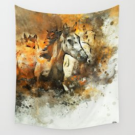 Watercolor Galloping Horses On Raw Canvas | Splatter Painting Wall Tapestry