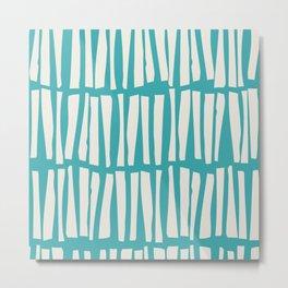 Alabaster White Vertical Dash Stripe Line Pattern on Aqua Teal Turquoise Parable to Aquarium SW 6767 Metal Print