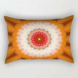 Bright Orange Star Mandala Rectangular Pillow