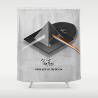 floyd Shower Curtains featuring Pink Floyd - Dark Side of the Moon by FRAXTURED