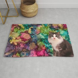 cat on a marbled background Rug