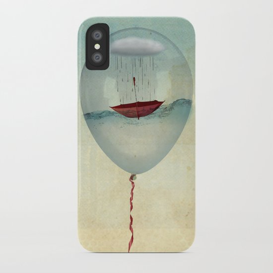 embracing the rain in a bubble iPhone Case