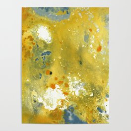 Abstract Acrylic Painting YELLOW Poster