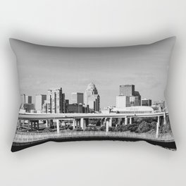 Downtown Louisville - Black and White Rectangular Pillow