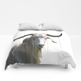 Portrait of a Horned Goat Grazing Vector Comforters