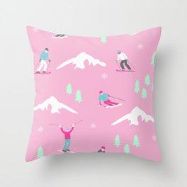 Lady Skiers Throw Pillow