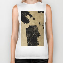 San Francisco California Black and Gold Map Biker Tank