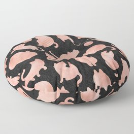 Rose Gold Pink Cats on Black Floor Pillow