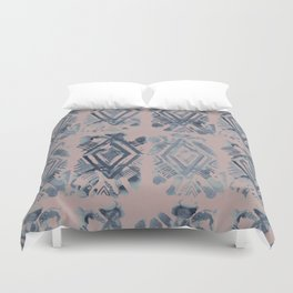 Simply Ikat Ink in Indigo Blue on Clay Pink Duvet Cover