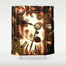 Steampunk, clocks and gears, vintage design Shower Curtain