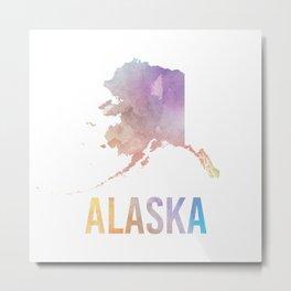 Watercolor State - AK Metal Print