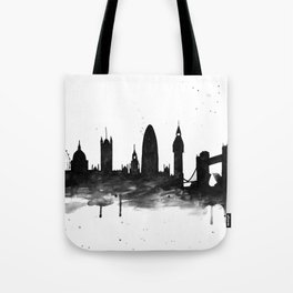 London, black and white Tote Bag