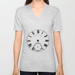 Time goes by vintage clock Unisex V-Neck