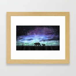 Aurora borealis and polar bears (black version) Framed Art Print