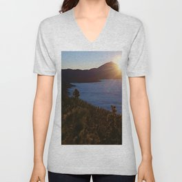 Sunset Canary Islands forest and Volcano Teide in Tenerife Unisex V-Neck