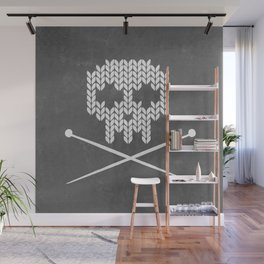Knitted Skull (White on Grey) Wall Mural