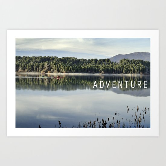 Adventure. Canoeing on the lake.  Art Print