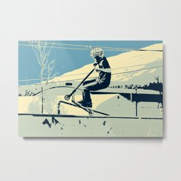 Getting Some Serious Air - Scooter Boy Metal Print